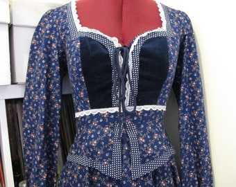 Gunne Sax Blue Floral Peasant Dress with velvet and peplum! xs/s