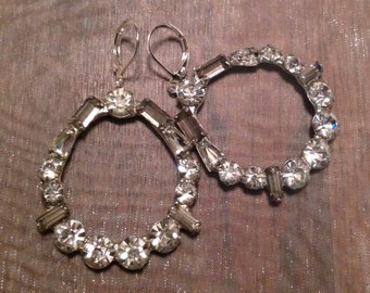 Art Deco Earrings 1940's Bridal Paste Rhinestone