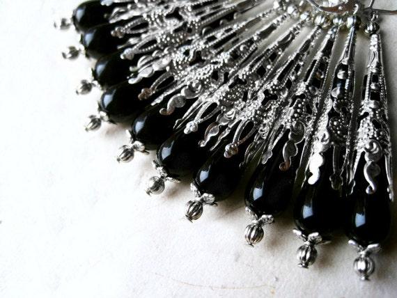 Black Teardrop Earrings, Long Black Earrings, Victorian Style Czech Glass Earrings, Ornate Silver Filigree Cone, Black and Silver