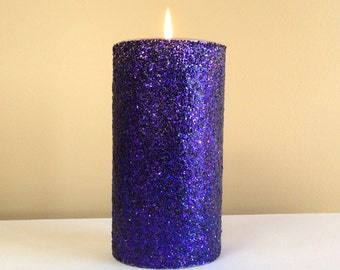 Purple Glitter Pillar Candle - 4, 6, 9 inch