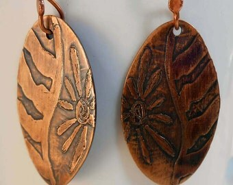 READY to SHIP Handmade Copper African Daisy Earrings CPE90