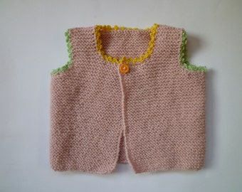 baby girl gift,knit baby vest, baby girl vest,pink baby vest,hand knitted