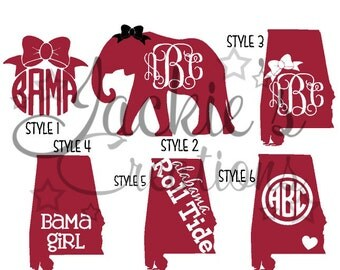 Alabama Decals/ AL Monogram Decals/Elephant Monogram Decals