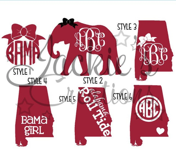 Alabama decals al monogram decals elephant monogram decals for Alabama football mural