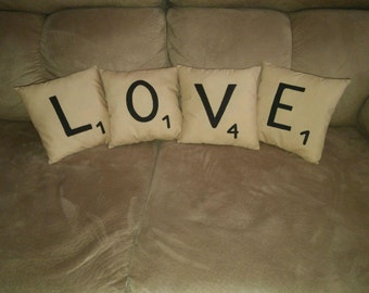 "8"" X 8"" Scrabble Tile Style Pillows"