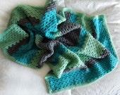 Handmade Baby Blanket // Teal, Gray and Light Green