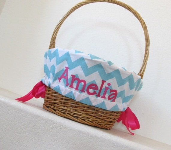 Personalized Easter Basket Liner Aqua Chevron Girls Boys