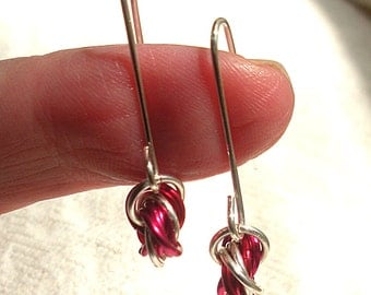 Red and Silver Chain Mail Earrings, Chainmaille Jewelry, Handmade Artisan Ear Wires,Mobius Roses, Gift Under 50
