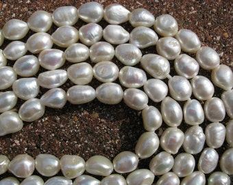 Large Hole Pearls 11-14mm white nugget baroque freshwater pearls 1 ( one) strand FREE shipping