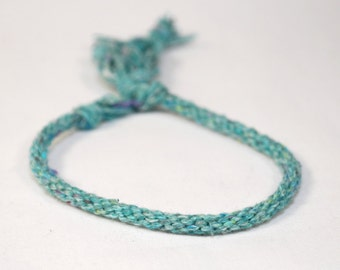 Eco Friendly Turquoise Bracelet Kumihimo Recycled Fibre Teal Blue Jewelry