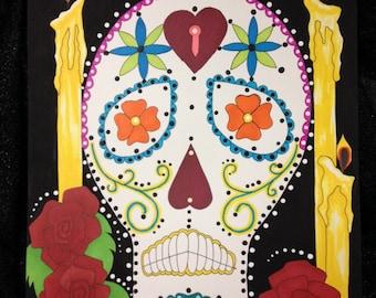 Skull & Candles Dia de los Muertos Art