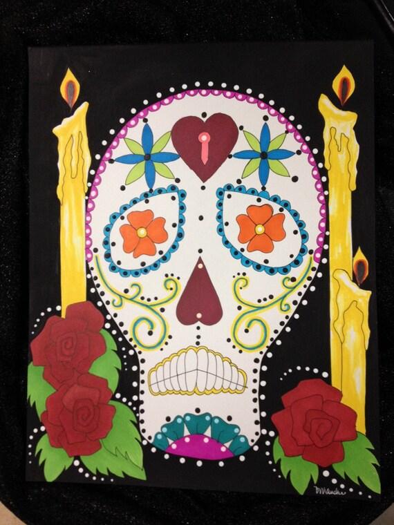 Skull & Candles Dia de los Muertos Art - My Sugar Skulls