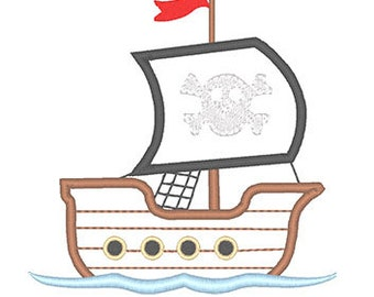 Pirate Ship Applique Embroidery Design - Instant Download