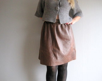 Leather Skirt, High Waisted, Mini Skirt, Mini Leather Skirt, Burlesque Pin Up Skirt, Brown Leather Skirt, Vintage Leather, Up cycled Skirt
