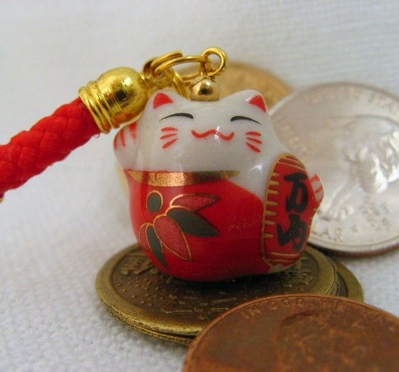 good fortune cat bell & figurine lamps