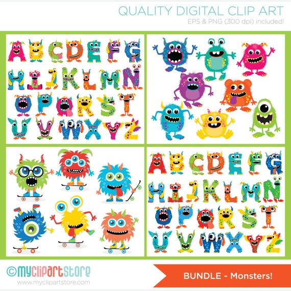 clipart bundle monsters monster alphabet party digital clip