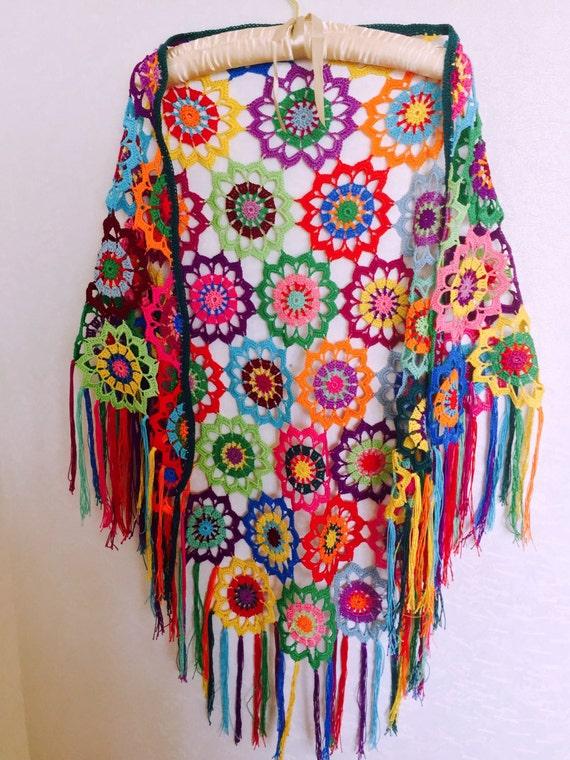 Colourful Crochet Shawl Boho Gypsy Shawl Hippie Patchwork