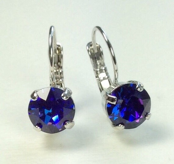 Swarovski Crystal 8.5mm Lever- Back Drop Earrings - Classy - Heliotrope - OR Choose Your Favorite Color and Finish   FREE SHIPPING