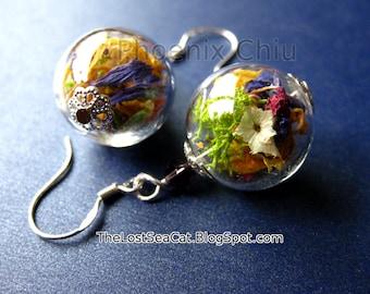 Real flower earrings Real flower jewelry Terrarium earrings Sterling silver dangle earrings Bridesmaid Wedding jewelry Dried flower jewelry