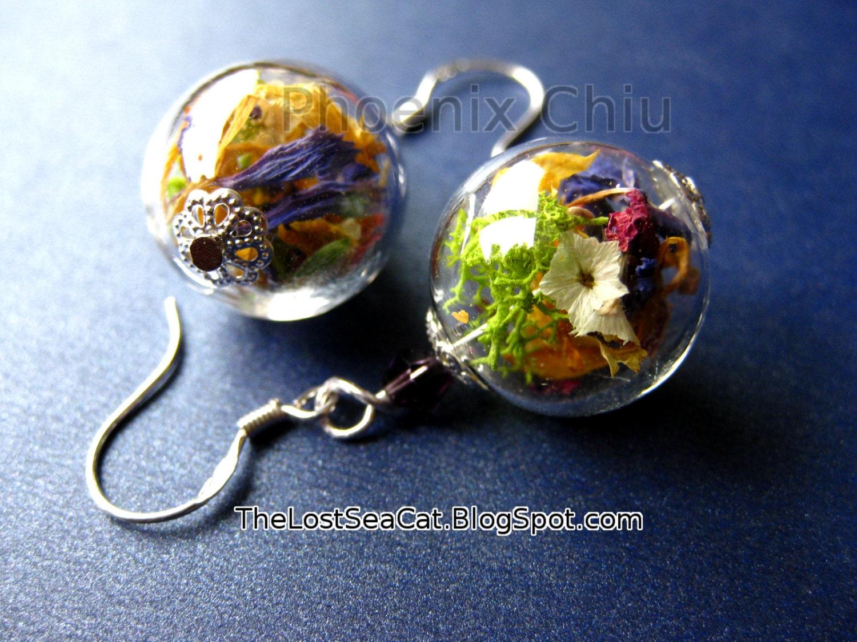Real Flower Earrings Real Flower Jewelry Terrarium Earrings # Terrarium Dangle