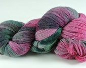 Hand Dyed Merino Wool Magenta Green Lace Weight Muted Soft 2432