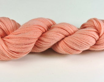Hand Dyed Yarn Merino Wool Apricot Coral Lace Weight Soft 2442