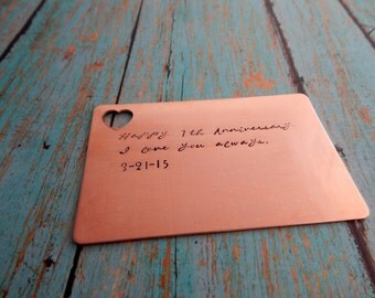 Happy 7th Anniversary I love you always. with Date / Hand Stamped Personalized Copper Wallet Insert  / Custom 7 Year Anniversary Card