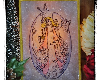 OOAK Beautiful Forest Angel and Friends Luminaria. Embroidered, Hand Colored with Free Frame and Light Diffuser Sheet.
