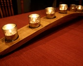 Centerpiece French Oak Wine Stave Candleholder with Seven Silver Mercury Votive Holders