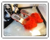 Jante Boudoir Slippers - Vintage Red Feather & Satin Stiletto Heels Shoes by Jante  - SH-017a-072313000
