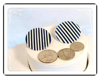 Jailbird Stripe Earrings - Navy Blue & White Vintage Pierced Lucite Earrings      E2353a-082012000