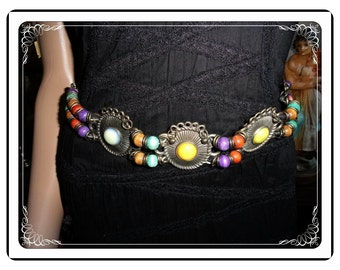 Rainbow Bead Belt - Vintage Fashionable with Silver Tone Accents   -    Belt-2973a-112113001