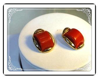 Goldtone & Red Lucite Earrings - Clipon  E314a-063013000