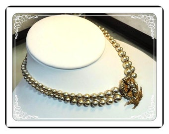 Miriam Haskell Necklace - Vintage Pearl w Flower Clasp  Neck-1894a-041913020
