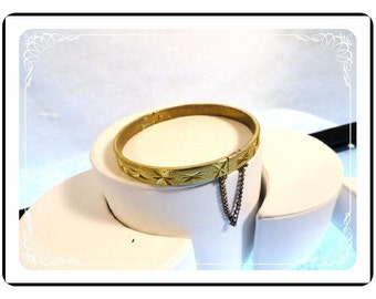 Steel Cut Bangle - Vintage Gold 18K Plate Bracelet   Brac-1047a-082012000