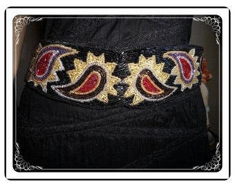 Milar Beaded Belt - Black Red and White Paisley Design -  Stretch Belt - Vintage 3200a-112113001