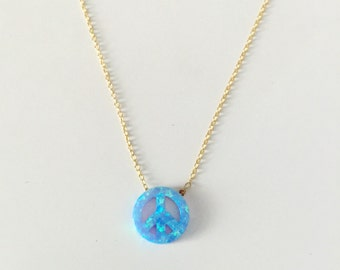 Opal Peace Sign Necklace // Short Opal Necklace