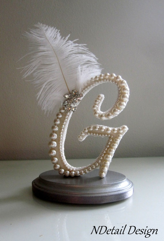 g wedding cake topper items similar to monogram g feather cake topper 15027