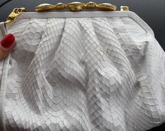 Python Snake Skin White Purse Clutch