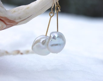Baroque pearl earrings dangle free pearl 13mm gold filled bride's jewelery wedding natural romantic bridal gift wedding bridal jewelery