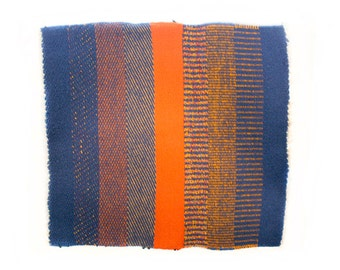 Vintage Hand Woven Wall Hanging // Cobalt Blue // Bright Orange // Small Woven Mat // Bold Colors