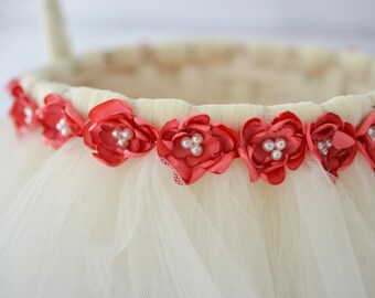 IVORY tutu flower basket with CORAL satin flowers, faux pearls, ivory tulle, coral flower basket - custom colors available