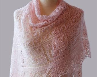 Knitted Shawl , Triangular, Estonian lace, nupps,Cashmere;Silk;Pale rose