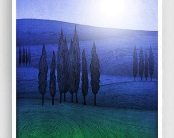 Forgiving darkness - Art illustration Giclee Art print Home decor Nursery prints Kids wall art Wall decor Nature prints Blue Green Field