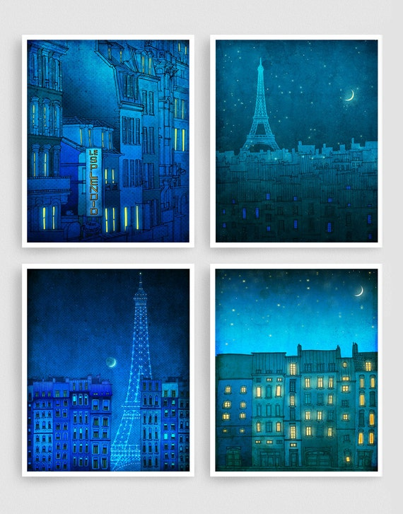 Any FOUR Prints - Save 30%,Set of four Illustrations,Paris Art Prints Posters Home decor Wall art Mixed media Architectural drawing