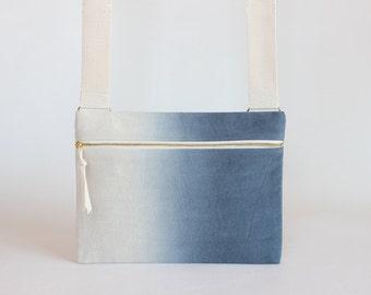 Midnight Blue Ombre Unisex Crossbody bag / Hand-dyed Natural Denim Mini Messenger Bag / Satchel Bag / Handbag / Canvas Bags / dark blue bag