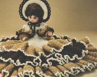 "Instant Download PDF Pattern  "" Crochet Bed Dolls "" Vintage Tiered Ruffled Skirt Doll w Bonnet * Bridal Doll"