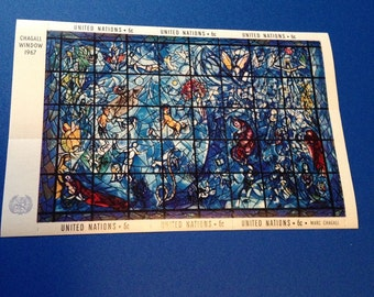 1967 United Nations Philatelic Mini Sheet // 6 Cent Marc Chagall Stained Glass Stamp Set// New and Unused