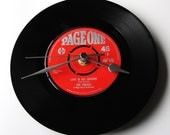 """THE TROGGS Clock """"Love Is All Around"""" made from a vintage vinyl 7"""" record Retro red page one label 1960s dad mum grandparent mothers day fun"""