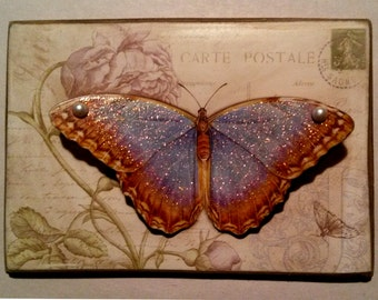 Beautiful Blue Butterfly / 3D Wings / Art Adhered To Wood / Handmade Fridge Magnet Or Picture Plaque With Rusted Tin Wire Hanger